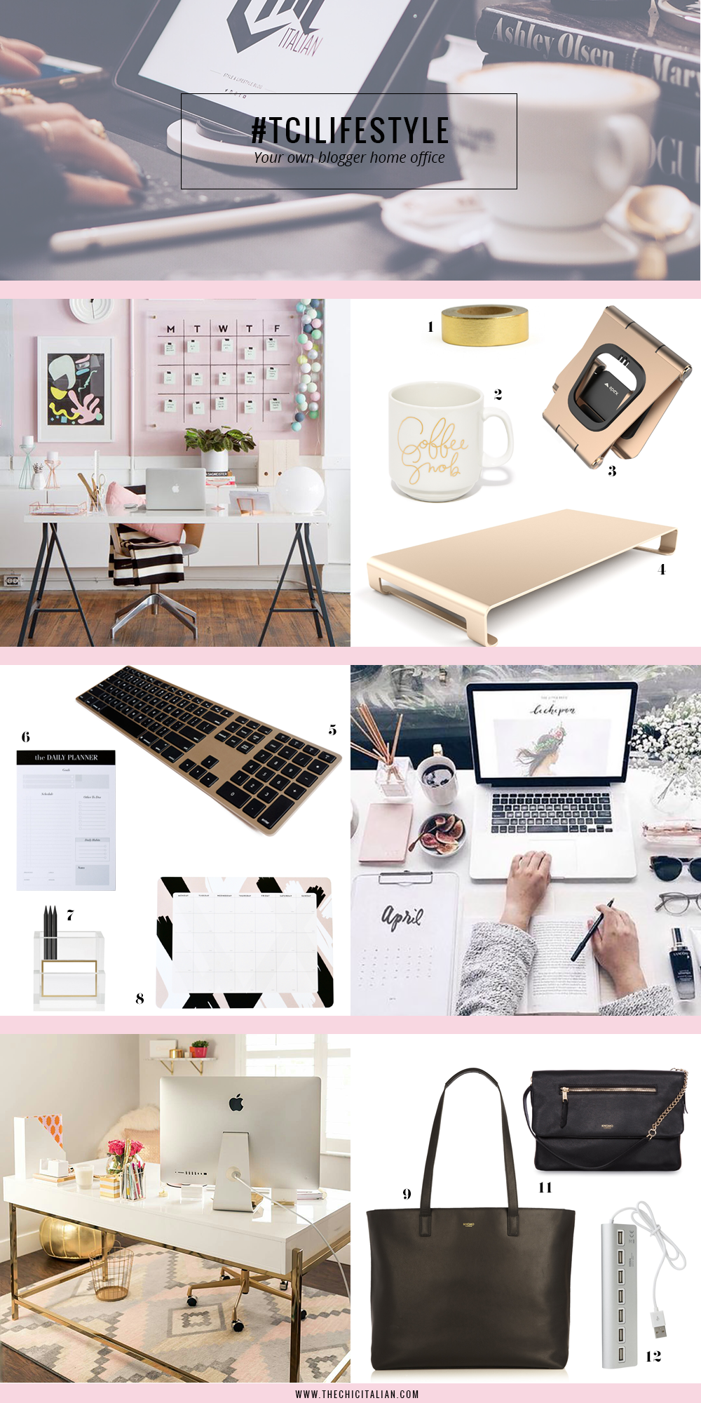 YOUR OWN BLOGGER HOME OFFICE || THECHICITALIAN ||12 items you need to give your home office an blogger makeover