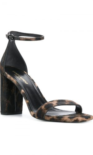 SAINT LAURENT Lou Lou leopard sandals | Farfetch