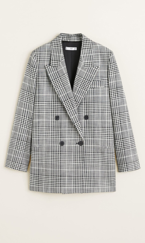 Checkered blazer in light grey | Mango