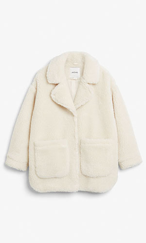 Cream shearling coat | Monki